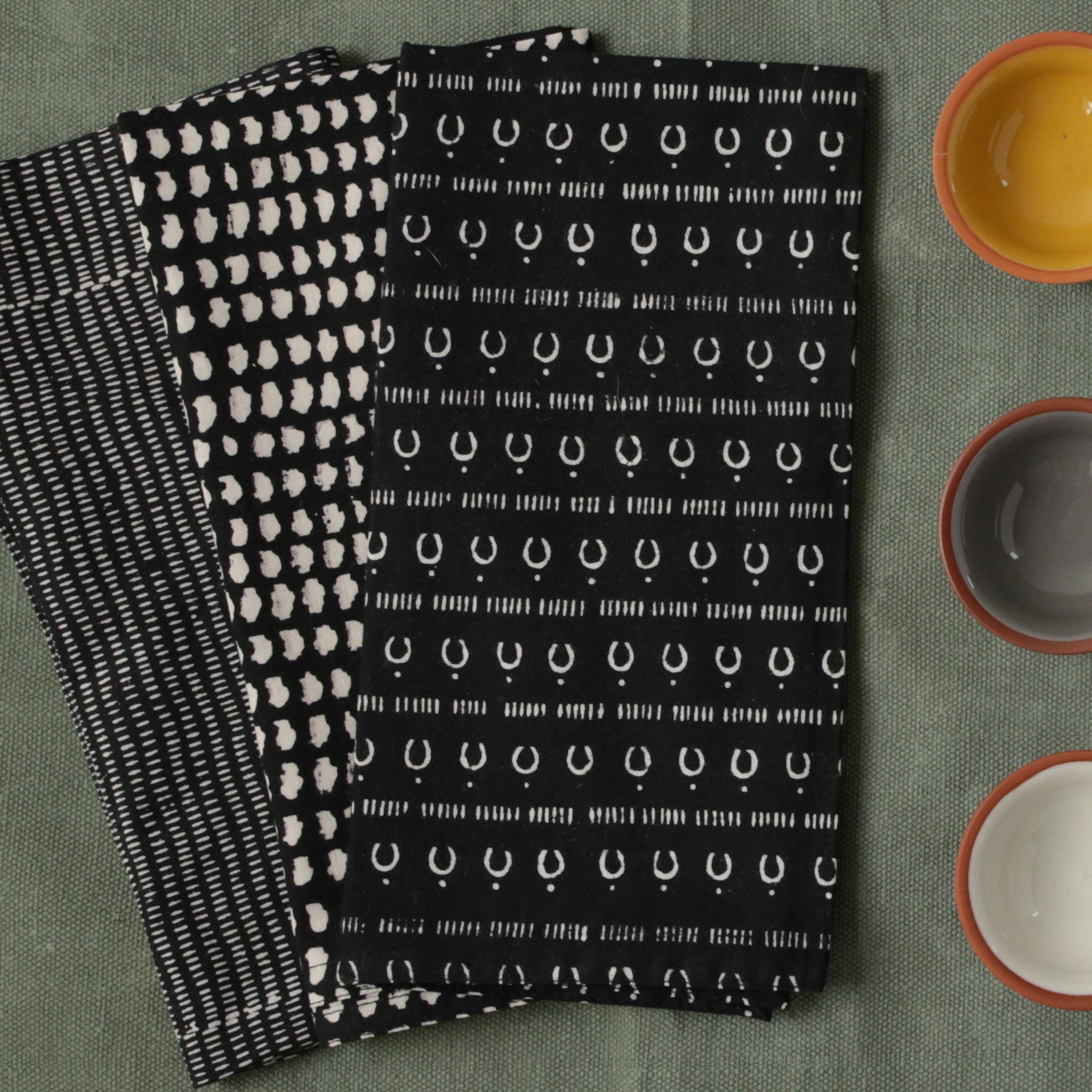 Alice Stripes Midnight Block Printed Napkins - set of 4