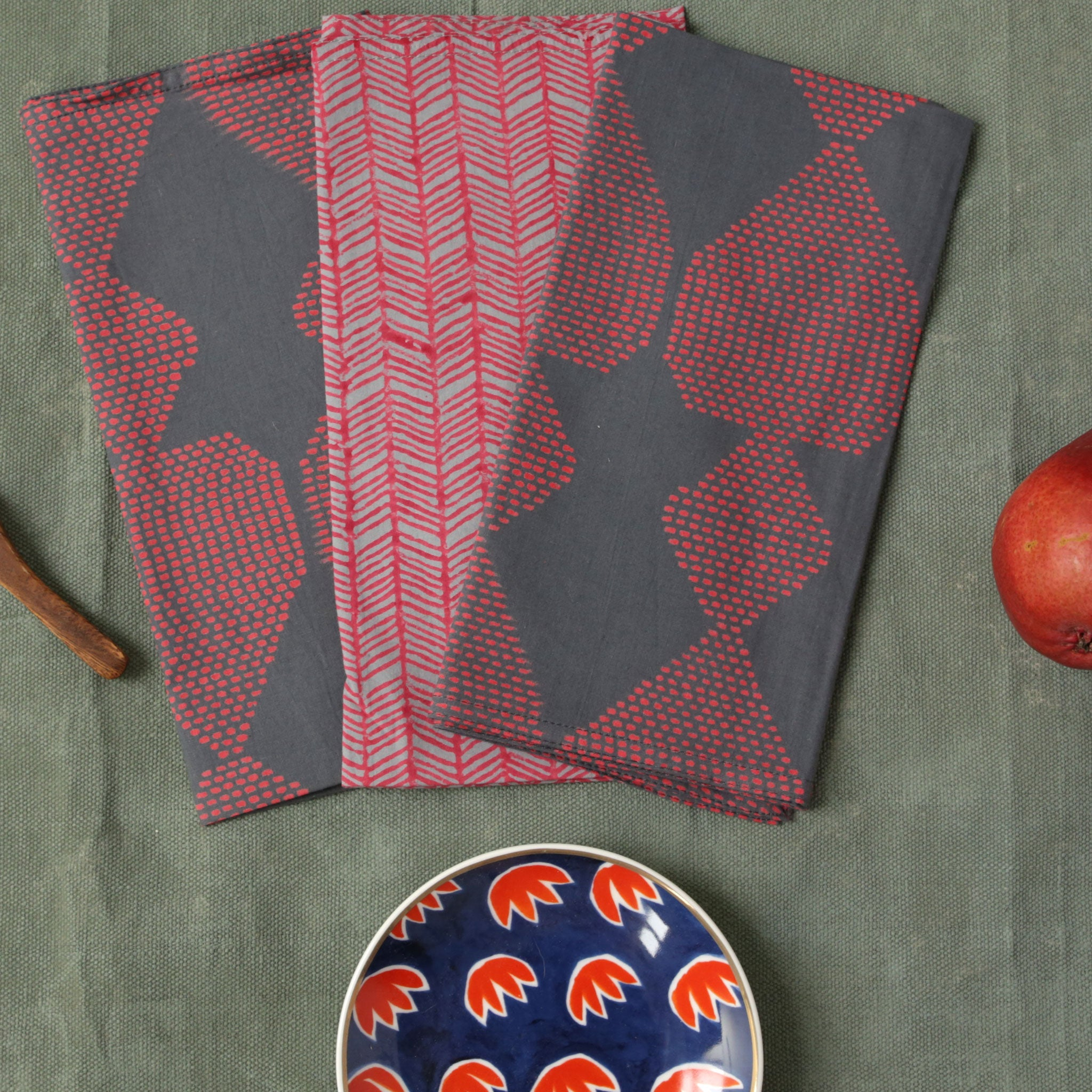 Plume Red Block Printed Napkins - set of 4