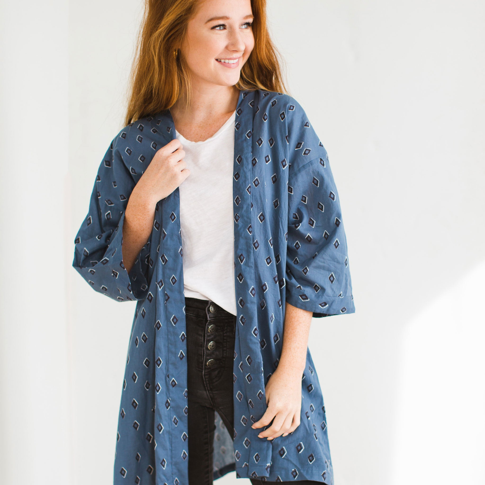 Tiz Ocean Block Printed Cotton Haori