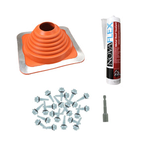 #4 Square HiTemp Silicone Metal Roof Boot wInstall Kit Red