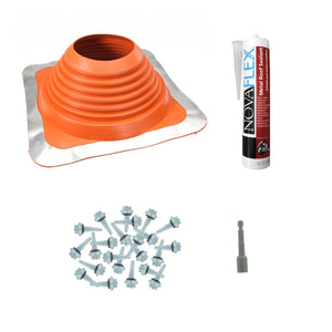 #7 Square HiTemp Silicone Metal Roof Boot wInstall Kit Red