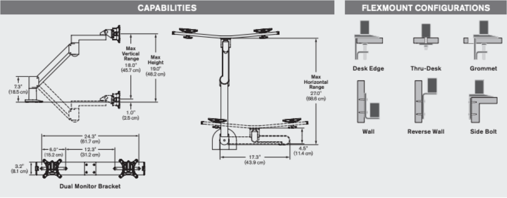Innovative 7500 Wings deluxe monitor arm specifications