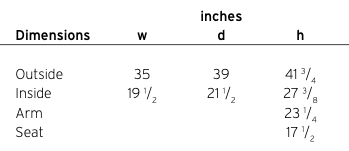 Davis Ginkgo Lounge Specifications Dimensions