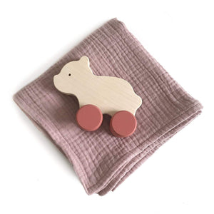 A beautiful set with handmade wooden bear with red wheels push toy. Also comes with a pink swaddle blanket. All wrapped up in a beautiful craft box.