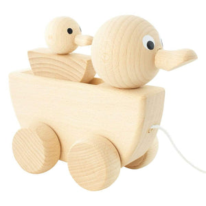 Gracie - Wooden Pull Along Duck With Duckling - thetinycrate