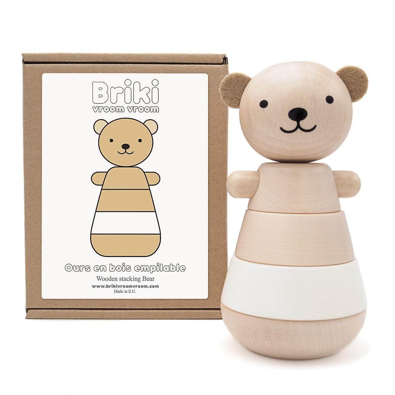 Wooden Stacking Bear White - thetinycrate