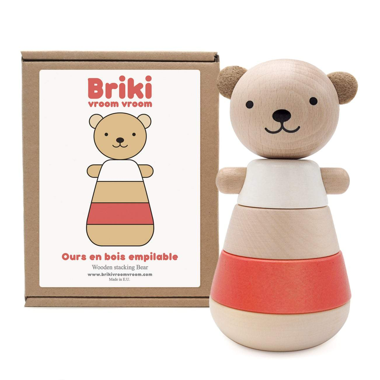 Wooden Stacking Bear Red - thetinycrate