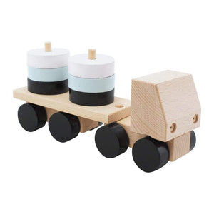 handmade wooden stacking truck. Black, white and light blue stacking blocks. Helps with kids learning.