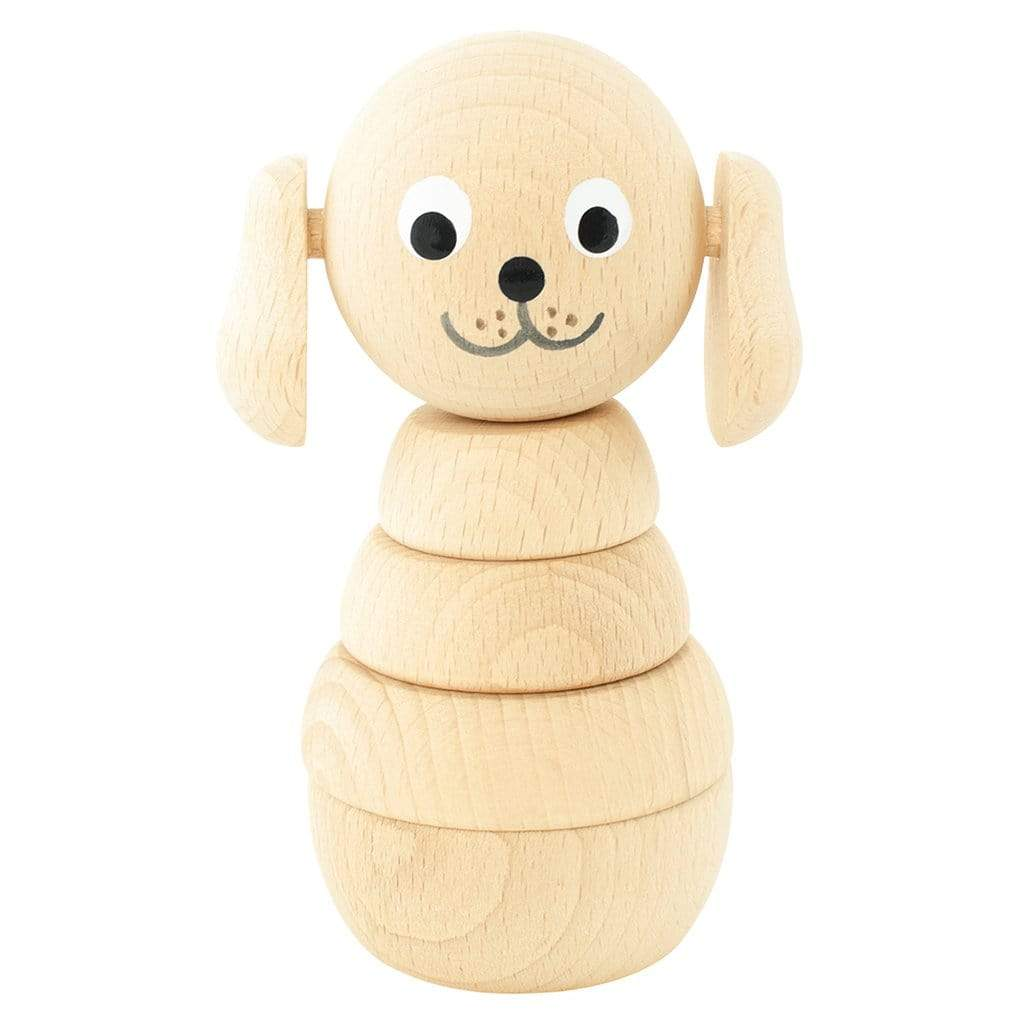 Handmade stacking dog. natural coloured wood with painted eyes and mouth.