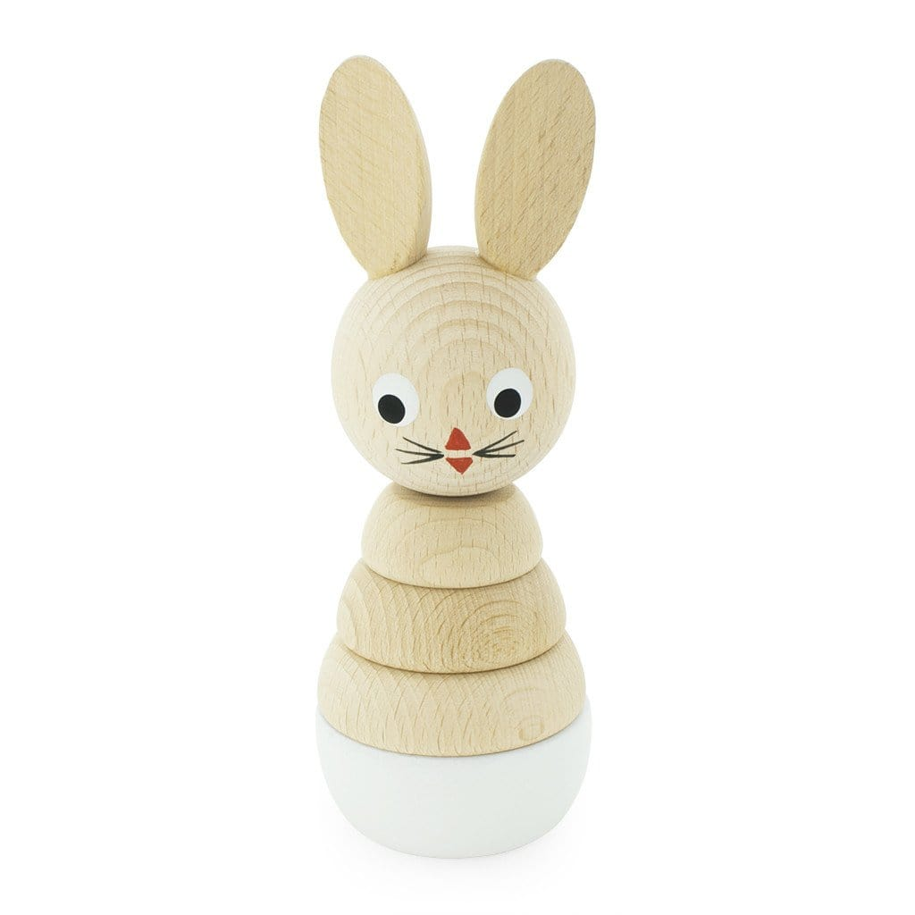Handmade stacking bunnie. natural coloured wood with painted eyes and mouth. Light blue base stacking puzzle