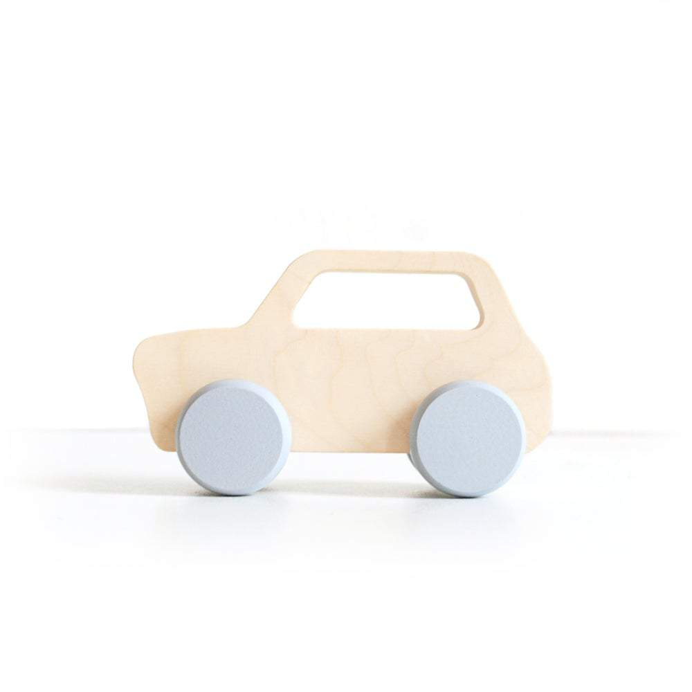This wooden mini push car toy with grey trim has been handcrafted and hand-painted in Europe. Made from natural maple wood, it's perfect for encouraging imaginative play with little ones.