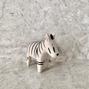 Perfectly hand made and hand painted wooden white zebra with black stripes. Crafted by t-lab