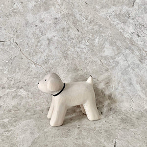 cute white wooden toy poodle toy with black eyes, nose and collar. Finely crafted by t-lab