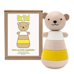 Wooden Stacking Bear Yellow - thetinycrate