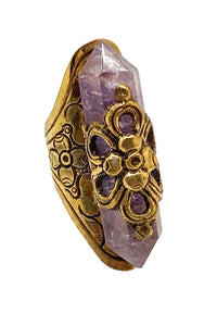 FLORAL AMETHYST STATEMENT RING