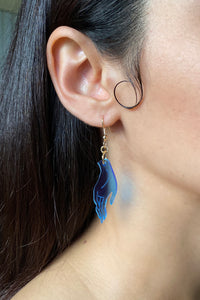 Small Hand Earrings - Blue