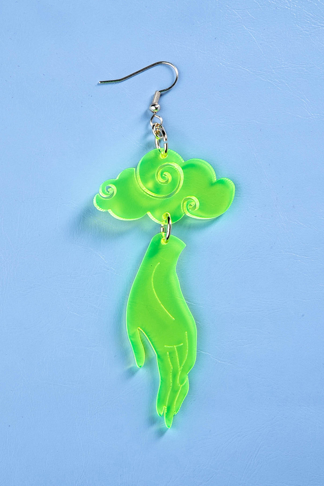 Large Hand Cloud Earring - Neon Green