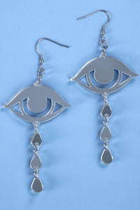 Large Cry Earrings - Silver