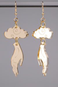 Small Hand Cloud Earrings - Champagne