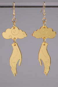 Small Hand Cloud Earrings - Gold