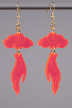 Load image into Gallery viewer, Small Hand Cloud Earrings - Neon Pink