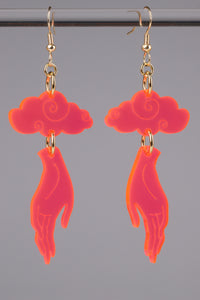 Small Hand Cloud Earrings - Neon Pink