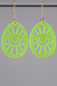 Egg Eye Earrings - Neon Green
