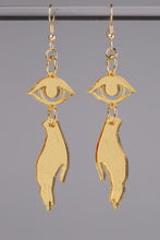 Load image into Gallery viewer, Small Hand Eye Earrings - Gold