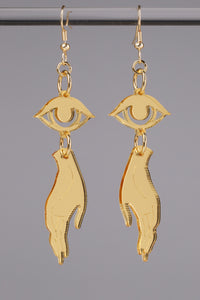 Small Hand Eye Earrings - Gold