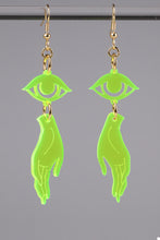 Load image into Gallery viewer, Small Hand Eye Earrings - Neon Green