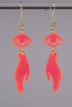Load image into Gallery viewer, Small Hand Eye Earrings - Neon Pink