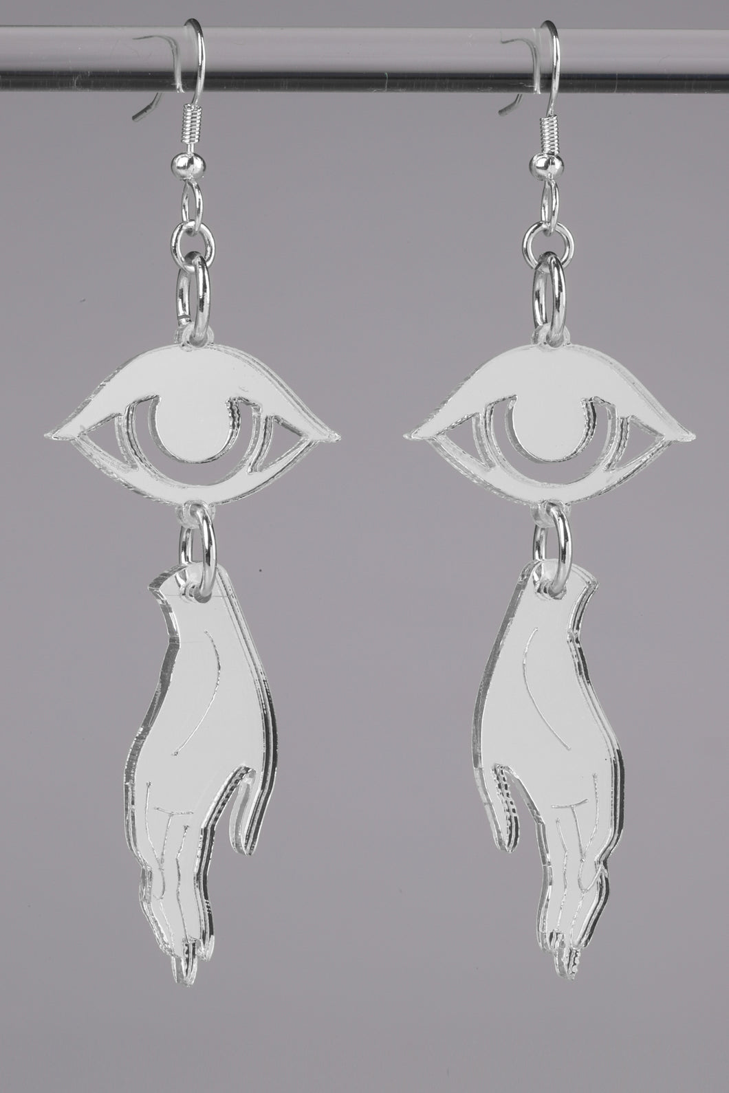Small Hand Eye Earrings - Silver