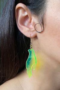 Large Hand Earrings - Neon Green