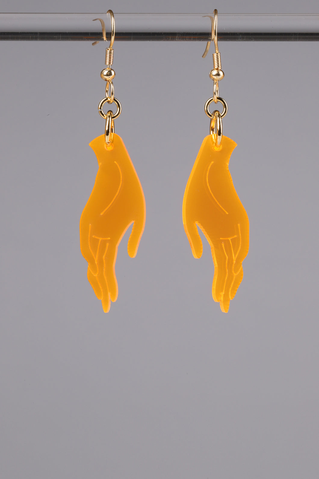 Small Hand Earrings - Neon Orange