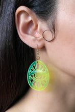 Load image into Gallery viewer, Egg Eye Earrings - Neon Green