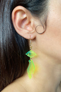 Small Hand Eye Earrings - Neon Green