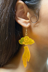 Large Hand Cloud Earrings - Neon Orange