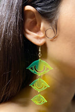 Load image into Gallery viewer, Large Eyes Earrings - Neon Green