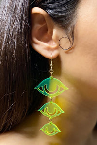 Large Eyes Earrings - Neon Green