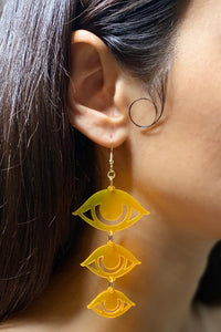 Large Eyes Earrings - Neon Orange