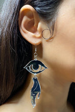 Load image into Gallery viewer, Large Hand Eye Earrings - Silver