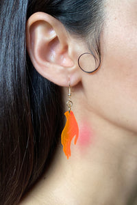 Small Hand Earrings - Neon Pink
