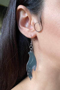 Large Hand Earrings - Silver