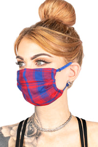 FACE MASK - RED + BLUE PLAID