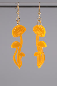 Small Shroom Earrings - Neon Orange