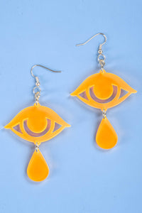 Large Teardrop Earrings - Neon Orange