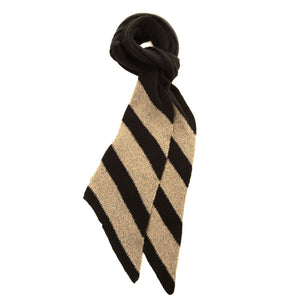 Shimmer striped knitted scarf Gold - Scattee
