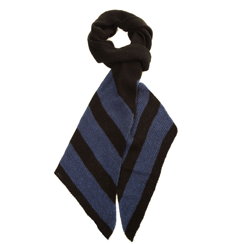 Shimmer Striped Knitted Scarf Blue - Scattee