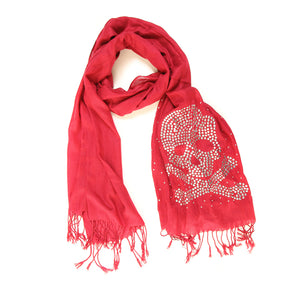 Studded Skull Scarf Red - Scattee