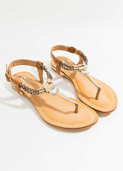 Stunning Summer Diamante Banja Sandal Tan